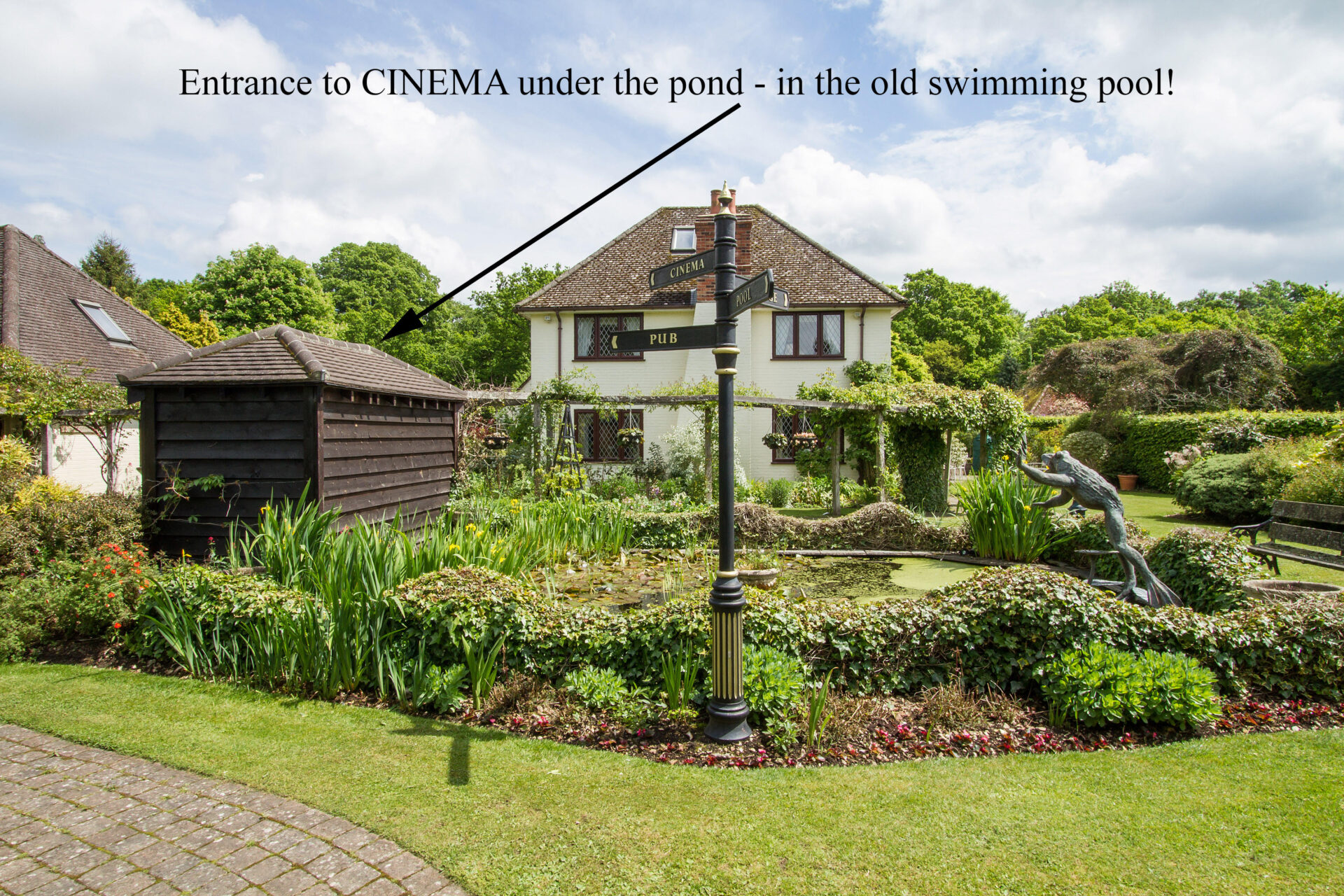 entrance to cinema garden pond